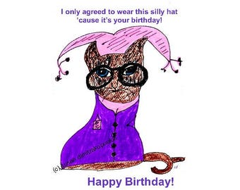 Funny Birthday Kitty card Instant Print Funny Card Best Friends Cat With Glasses Cat Lover instant download printable image digital image
