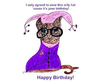Lustige Geburtstag Kitty Karte Instant Druck lustige Karte beste Freunde Katze mit Brille Katzenliebhaber sofortigen Download druckbare Bild digitale Bild