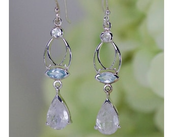 Beautiful Natural Glowing Moonstone & Sky Blue Topaz Dangle Earrings In Sterling Silver, Birthday Gift, Anniversary Gift, Thank You Gift