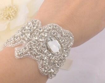 Connie-Vintage Style Rhinestone with Ribbon Bridal Bracelet