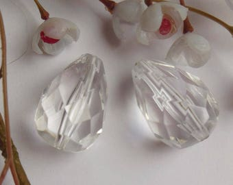 set of 4 beads drops faceted plastic