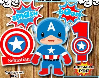 Superhero Centerpieces , Captain America Centerpieces, Party Signs Instant Donwload, Party Printable, Photo Props RP-55