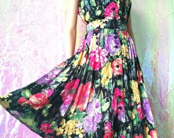 VINTAGE Floral Boho Sweetheart Summer Midi Dress Michele Boyard 10-12 FREEUKP&P