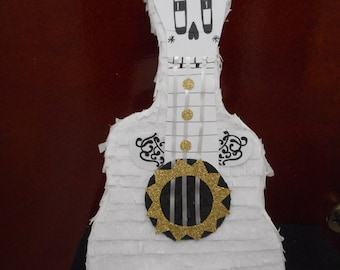 """Miguel White hand made Guitar traditional Pinata from Coco Movie 18"""" x 9.5"""" x4 """""""