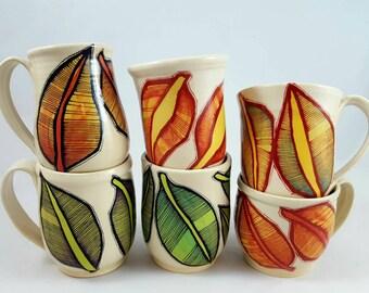 Leaf design mug, illustrated mug, cone 6 mug, ceramic mug, botanical mug