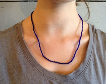 Royal Blue Seed Bead Necklace