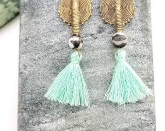 Stud tassel earrings// bright summer earrings//bohemian earrings- black, white and mint// African boho  dangle earrings//brass stud