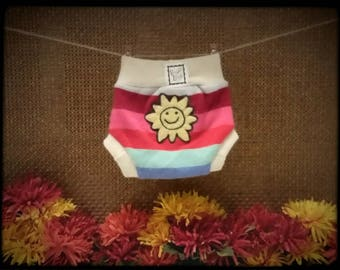 """Wool Diaper Cover Upcycled Soaker Cloth Diaper Cover """"Sunshine and Rainbows"""" Size Small"""