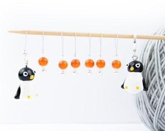 8 Penguin Markers - 6+1 stitch markers - 1 progress marker - Ready to ship