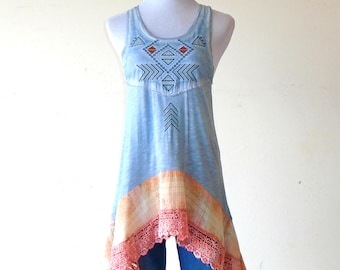 XS - S ~ Cerulean Blue Tribal & Distressed Plaid Tank Sun Dress / Top / Tunic ~  lagenlook teen dress handmade hippie boho chic wearable art