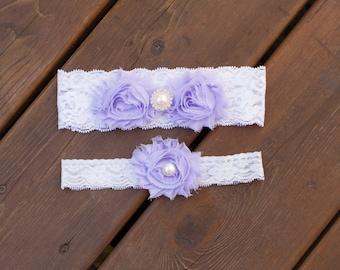Lavender garter set, Wedding Garter Set, Bridal Garter Set, Lace Garter, Bridal Garter Belt, Wedding Garter Lace, Flower Garter, Lace Garter