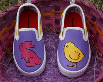 Hand PAINTED EASTER SHOES, Bunny Shoes, Chick Shoes, Baby/Toddler, Child/Youth, and Womens Sizes