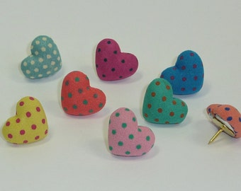 Decorative Push Pins, Heart Drawing Pins, Pin Board Pins, Polkadot Pins Cork Board Pins, Thumbtacks, Teachers Gift