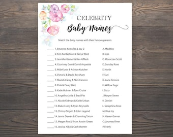 Celebrity Baby Name Game, Printable Baby Shower, Celebrity Baby Name Match, Baby Shower Games, Pink Baby Shower, DIY Printable Shower, S015