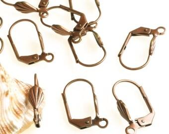 Antique copper lever back ear wire 16x8mm, 12 pcs (item ID ACLEL16x8 \ YWACHB00039)