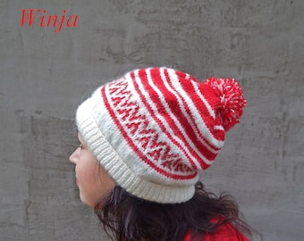 Knitted  women's hat, slouchy beanie hat, winter hat, wool hat, hand knit red hat, boho  chunky hat, knit beret women's, hat with jacquard