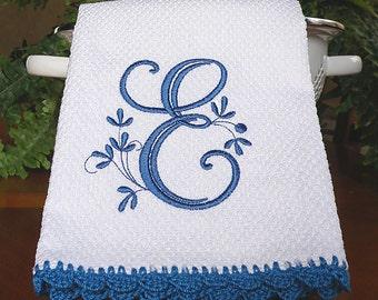 Monogrammed Hand Towel, Monogrammed Kitchen Towel, Personalized Towel, Blue Monogrammed Towel