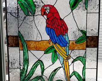 "Scarlet Macaw 18"" x 24"" LARGE Faux Stained Glass Panel (Parrot)"