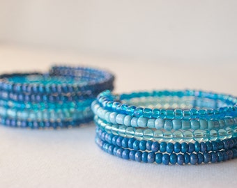 Blue Cuff Bracelets, Bangles, Beaded, Sky Blue, Pastel Blue, Cerulean, Cornflower, Denim, Boho, Gypsy, Fall Finds, Unique, Wrap Bracelet