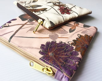 Set of 2 Floral Zip Bags, Cosmetic Bag, Pouch Tutoial, Small Makeup Bag, Zipper Pouch, Zipper Pencil,Toiletry Bag, lady accessories, gift