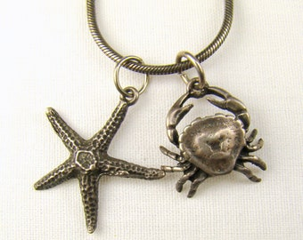 """Starfish and Crab Beach Themed Sterling Pendant Necklace ~ 18"""" Chain"""
