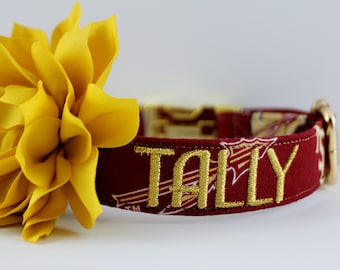 FSU Florida State University Seminoles Hand-made Pet/Dog Collar-with optional Personalized Embroidery