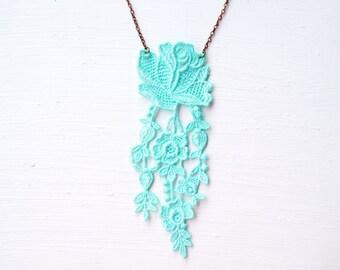 Long Blue Lace Statement Necklace