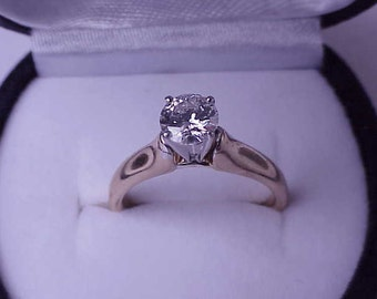 14k White & Yellow gold .71ct   Natural  Solitaire Brilliant  Cut Diamond Ring comes with Appraisal Certificate