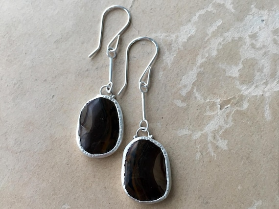 Royal Sahara Jasper, Jasper Earrings, Chocolate Stone, Long Silver Earrings