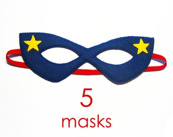 5 felt Superhero Masks party pack for kids -SALE - Dress Up play costume accessory package - Birthday gift for Boys Girls - Theatre roleplay