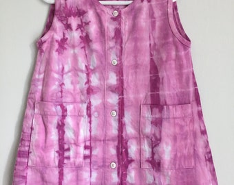 Hand Dyed Pink 100% Cotton Button Down Toddler Dress with Pockets Free Shipping