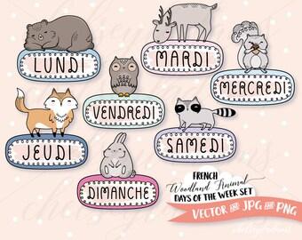 Woodland Animal Days of the Week Clip Art Set, French, DIY Planner Stickers, Vector, Français, Les Animaux Des Bois, Les Jours De La Semaine