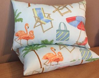 Two Decorative Indoor Outdoor Beach Theme Palm Tree Flamingo Lumbar Pillows