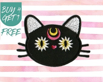 Black Cat Patch Daisy Patches Iron On Patch Embroidered Patch Kitty Crescent
