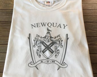 Newquay T Shirt Cornwall's Surfers Seaside Town Coat of Arms and Surfboards
