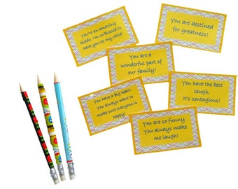 Printable Lunchbox Notes - Compliments - Enough for whole school year!