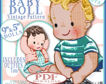 BOY Baby Doll Vintage Pattern 1950s Mail Order ePattern Boy or Girl Cloth Babydoll and Clothing 2 Sizes 10 and 5 inch Dolls