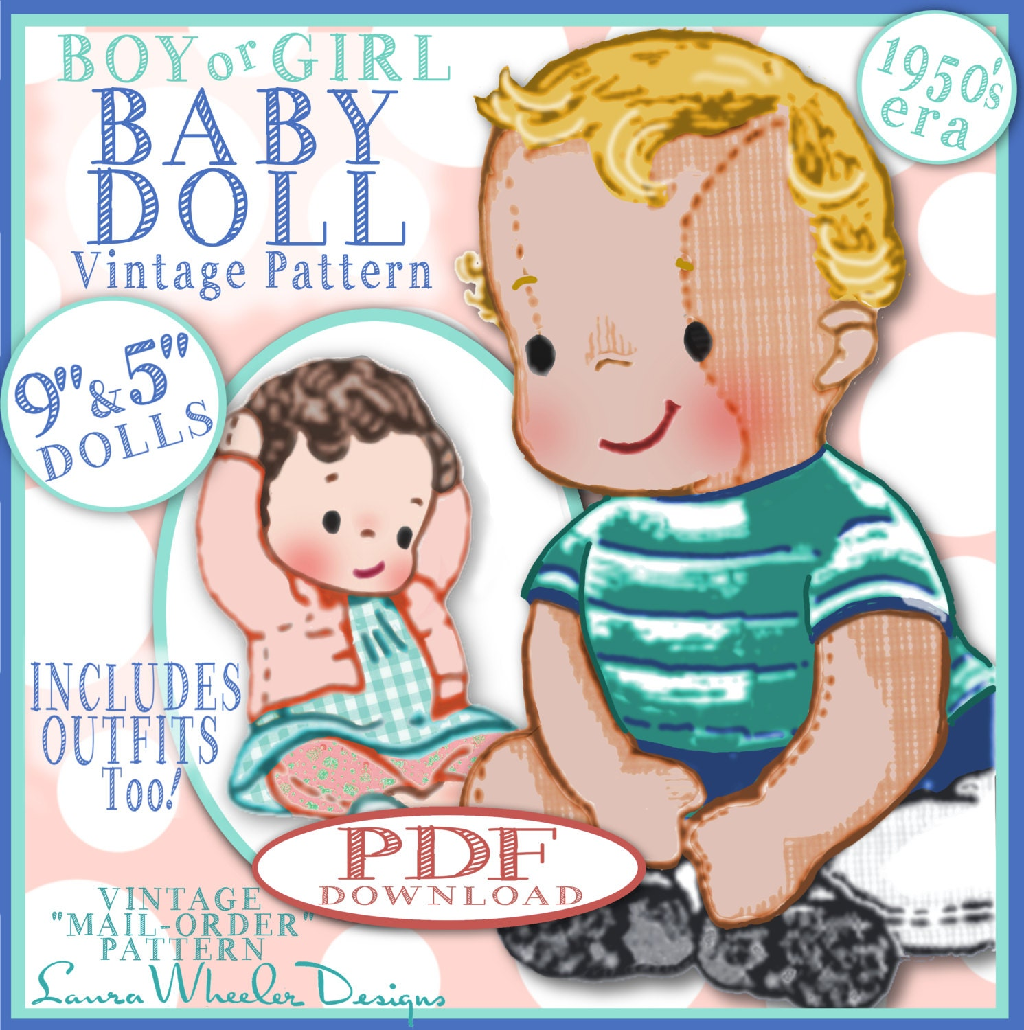 BOY Baby Doll Vintage Pattern 1950s Mail Order ePattern Boy or Girl