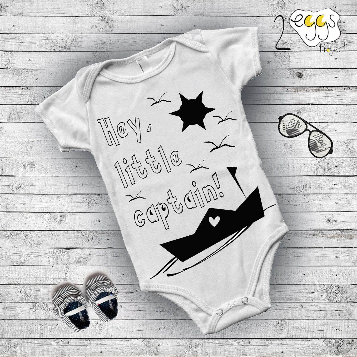 Infant clothing Black and white Nursery t Captain Boat
