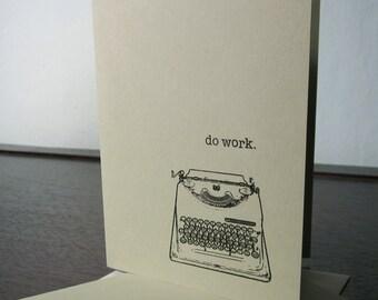 Des cartes de travail machine à écrire-6-Pack Sage Gocco vert sérigraphié Art