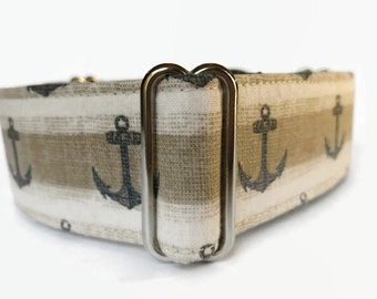 Martingale Dog Collar Navy Anchor // Dog Lover Gift // Dog Accessories // Greyhound Collar // Sighthound Collar // Nautical Collar