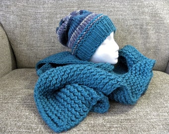 Teal, Blue, and Purple Knit Hat and Scarf Matching Set, Slouchy Beanie and Chunky Knit Scarf