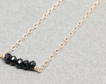 Elements Black Spinel Rose Gold Filled Necklace - 18 inch - Quick Ship