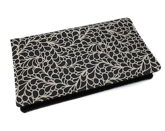 fabric checkbook black and ecru - gift mother's birthday, protects checkbook