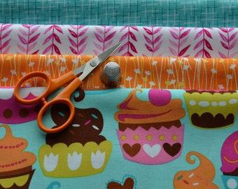 Fett Quartal Stoffbündel, Michael Miller, Cupcake Stoff, Orange Blumenstoff, Baumwollstoff, Quilten, 4 Fat Quarters, Craft Versorgung