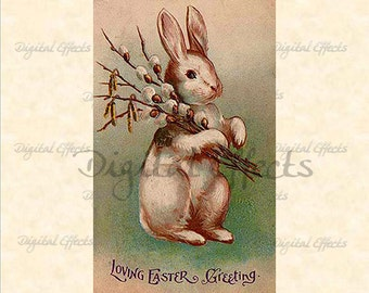 VINTAGE EASTER POSTCARD, Instant Digital Download, 1907 Vintage Easter Card, Easter Bunny Postcard, Vintage Easter Bunny, Printable Cards