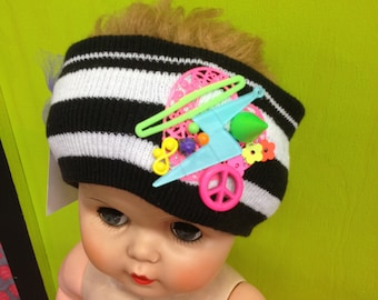 Black & White Striped Decorated/Embellished Knit Headband Stretch Ear Warmer with Neon Charms