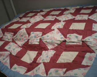 Burgundy & Pink baby quilt
