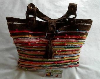 Hand bag floral crochet, crochet bags, bags Brown  bag , etnic bag , tribal