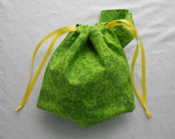 OOAK Small Project Bag Wristlet for Sock Knitting, Crochet, and Needlework - Spring green